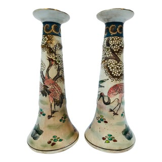 1960s Hand-Painted Large Chinese Candlesticks - a Pair For Sale