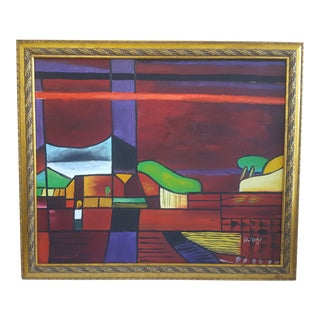 Original Abstract Cubism Country Field Scene Framed Acrylic Painting