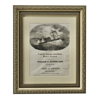Framed Antique Lithograph of Shipping Document For Sale