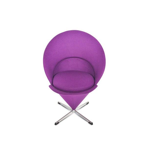 Metal Verner Panton Swivel Cone Chair in Purple Wool For Sale - Image 7 of 10