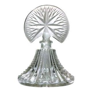 Pressed Glass Fan Stopper Perfume Bottle For Sale