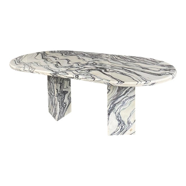 1980s Postmodern Oval Marble Dining Table For Sale