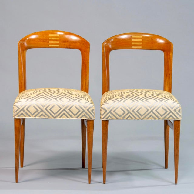 Set of Eight Art Deco Beech Chairs With New Upholstery For Sale - Image 10 of 12