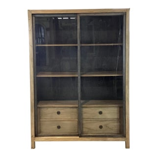 Industrial Modern Wood and Metal Display Case For Sale