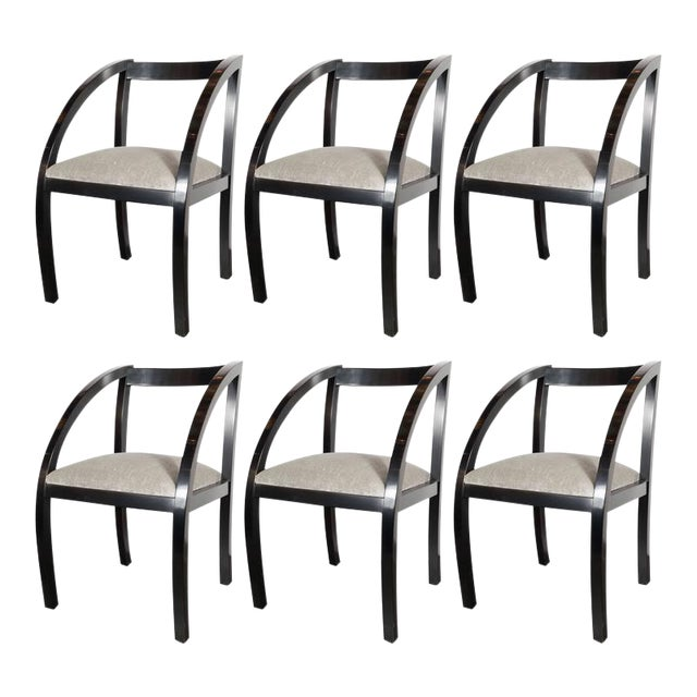 Set of Six Art Deco Dining Chairs by the Modernage Company in Walnut and Velvet For Sale