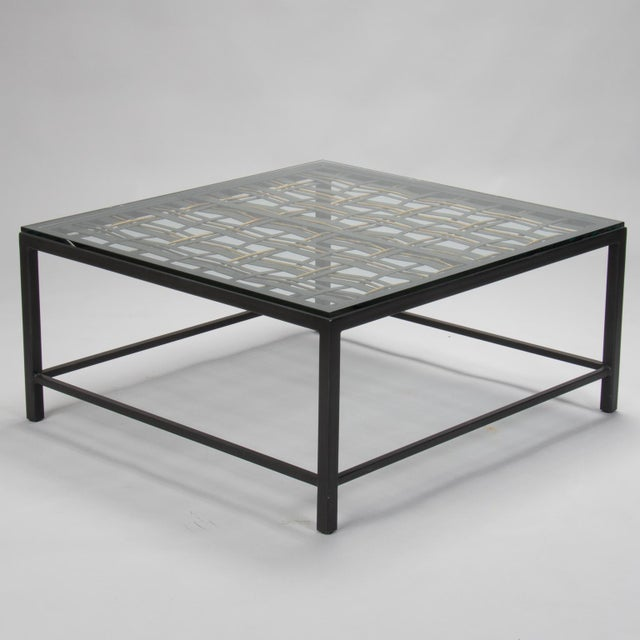 Gold Custom Coffee Table Made from French Decorative Metal Grill For Sale - Image 8 of 9