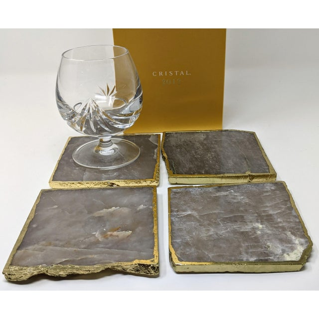 Jonathan Adler Organic Modern Smoke Gray Agate Coasters With Gold Metal Edge - Set of Four (4) For Sale - Image 4 of 12