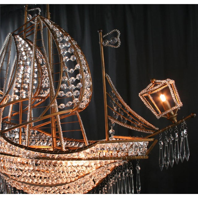 Nautical New Large Sailing Ship Crystal Chandelier For Sale - Image 3 of 12