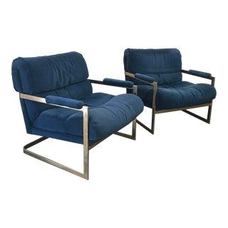 Vintage Milo Baughman Blue Velvet Lounge Chairs - a Pair