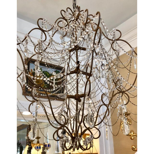 French Very Unusual Vintage Beaded & Crystal Chandelier For Sale - Image 3 of 4
