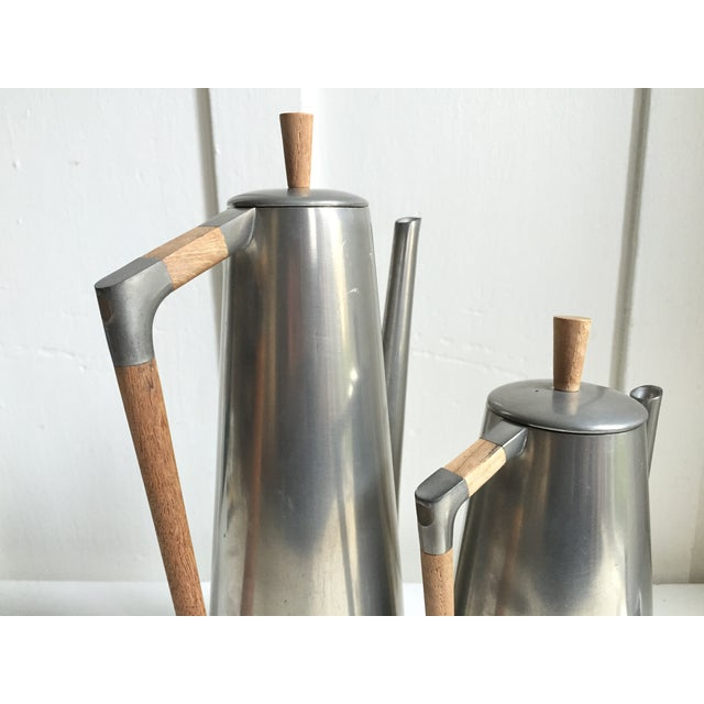 Royal Holland Pewter & Teak Coffee / Tea Set For Sale - Image 5 of 6