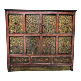 1900s Rustic Handpainted Tibetan Storage Chest