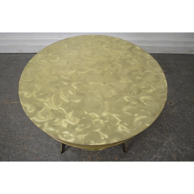 Studio Custom Crafted Pair of Brushed Steel Gold Finish Round Side Tables - Image 9 of 10