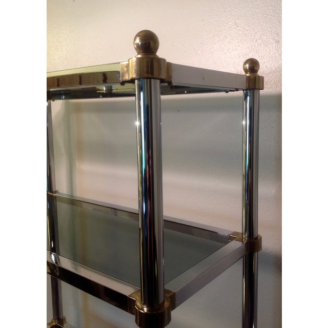 Maison Jansen Etagere, Chrome & Brass Smoked Glass For Sale - Image 9 of 10