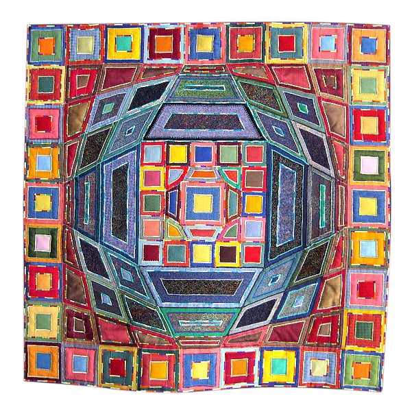2007 Op Art Victor Vasarley Modern Tapestry Wall Hanging Fiber Art Signed Made in Italy For Sale