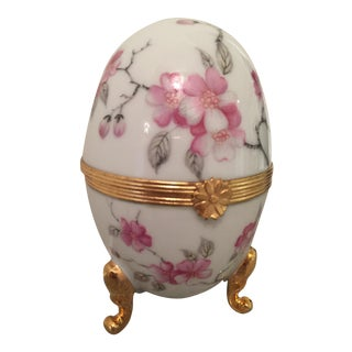 1980s French Pronvincial Limoges Trinket Egg Box For Sale