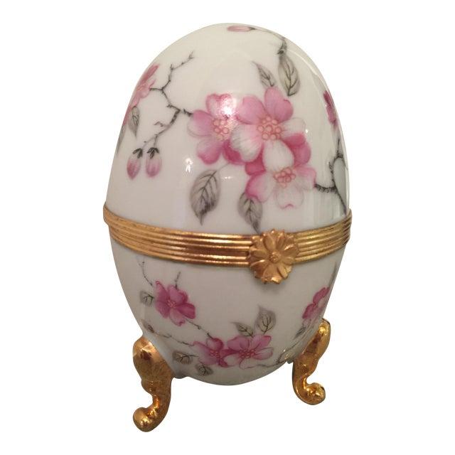 1980s French Pronvincial Limoges Trinket Egg Box For Sale