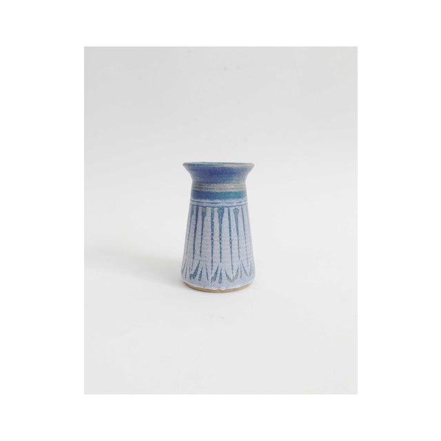 Mid Century Blue Studio Pottery Vase For Sale - Image 5 of 5