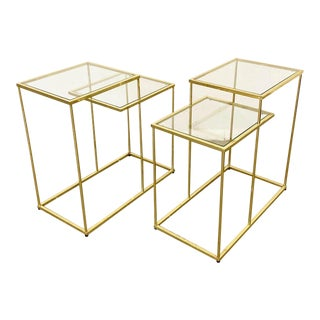 Pair of Mid-Century Danish Modern Golden Chrome 2-Tier End/Side Tables For Sale