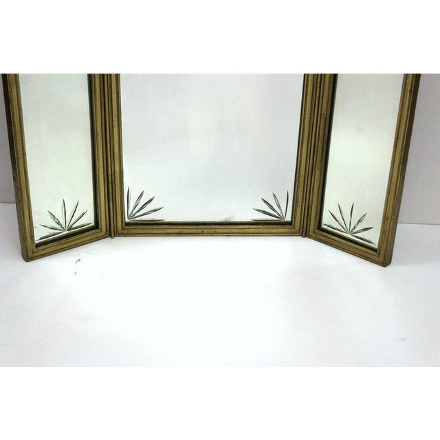 Art Deco French Art Deco Bronze With Etched Glass Tri-Fold Mirror For Sale - Image 3 of 9