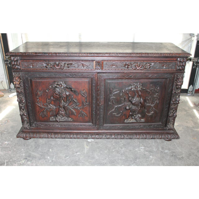 Brown 18th Century French Hand-Carved Sideboard For Sale - Image 8 of 8