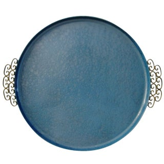 Mid-Century Moiré Glaze Kyes Powder Blue Tray