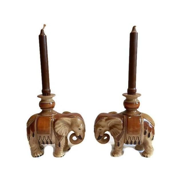 Boho Chic Fitz & Floyd Elephant Candle Holders - A Pair For Sale - Image 3 of 10