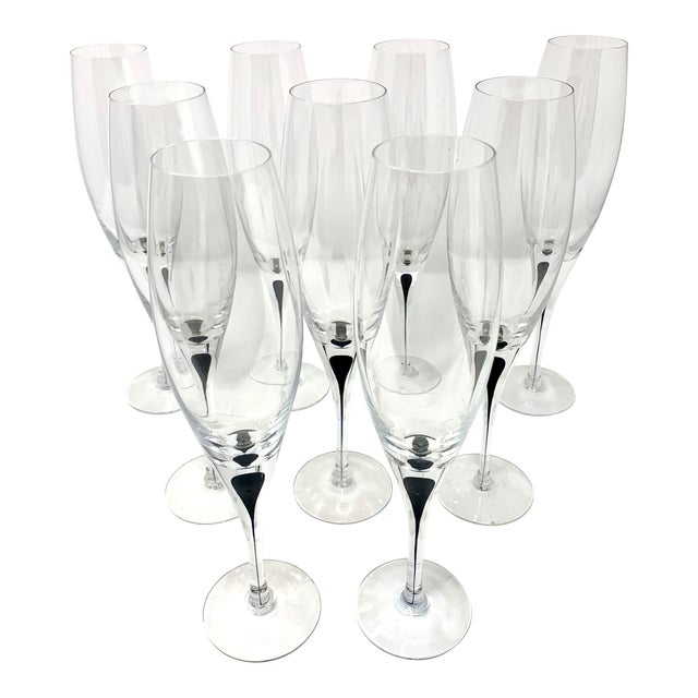 Vintage Orrefors Intermezzo Crystal Champagne Flutes - Set of 9 For Sale
