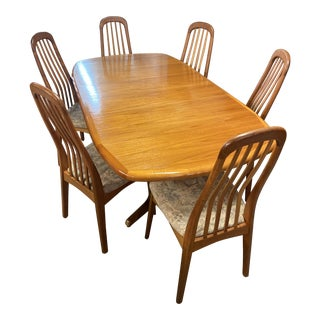 Benny Linden Danish Modern Style Trestle-Base Dining Set - 7 Pieces For Sale