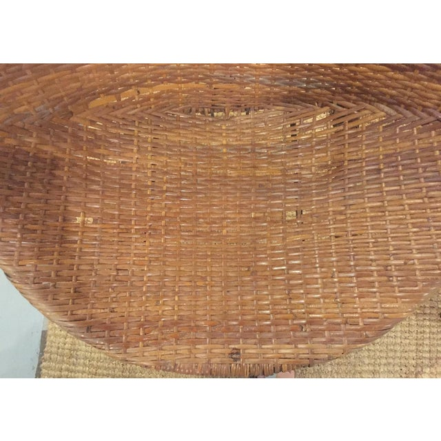 Mid-Century Rattan Wicker Hoop Chairs - Pair - Image 7 of 9
