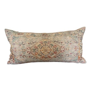 Boho Chic Antiqued Persian Rug Colorful Woven Cotton Lumbar Pillow New For Sale