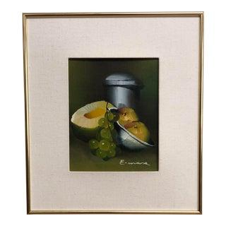 E. Mara Original Still Life Fruit Signed Framed Oil Painting on Canvas For Sale