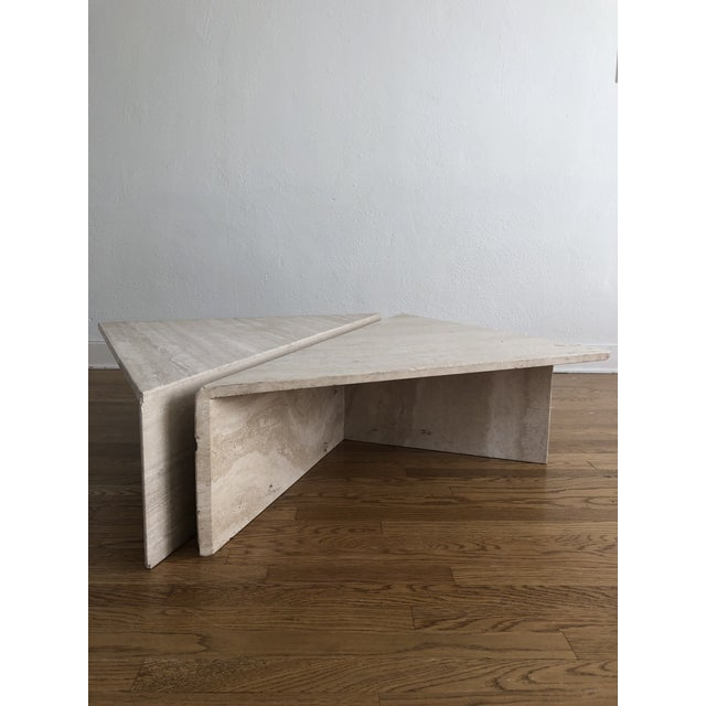 Vintage marble travertine coffee table. This is such a fantastic piece! There is a small piece missing, but it is not too...