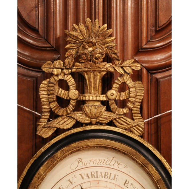 Mid-18th Century French Louis XVI Carved Giltwood Wall Barometer Selon Toricelli For Sale In Dallas - Image 6 of 8
