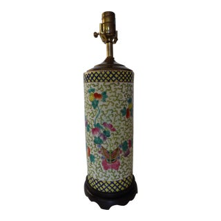 1970s Vintage Hand Painted Ceramic Chinoiserie Table Lamp For Sale