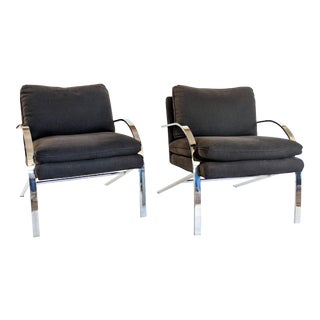 Paul Tuttle Chrome Arco Chairs - A Pair