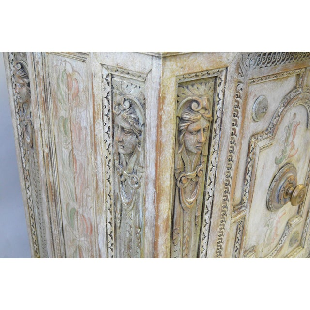 Wood 18th Century Hand Painted Italian Two Door Cupboard Gianni Versace Ex Property For Sale - Image 7 of 10