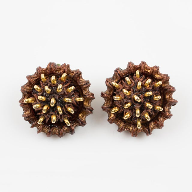 Francoise Montague Paris Clip on Earrings Brown Resin Talosel Brass Studs For Sale In Atlanta - Image 6 of 6