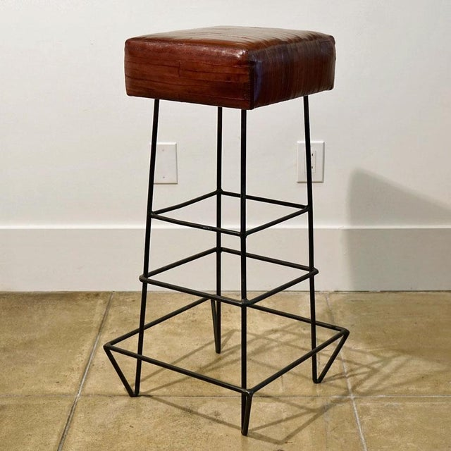 Mid-Century Modern 1970s Frederick Weinberg Eel Skin Stools - a Pair For Sale - Image 3 of 8