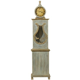 Swedish Clock With Lyre Shaped Motif, Nicely Aged Face and Round Finial For Sale
