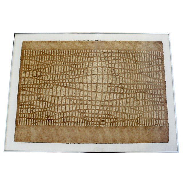 Paper Mid Century Modern Framed Textured Paul Maxwell Lithograph Signed Numbered 47/75 For Sale - Image 7 of 7