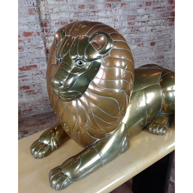 Sergio Bustamante Resting Lion Brass & Copper Sculpture For Sale - Image 9 of 11