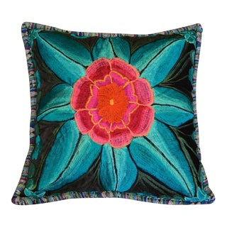 Floral Design Embroidered Mexican Pillow
