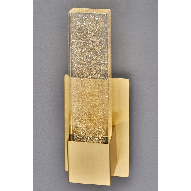 Murano glass modern slab sconces. This is Murano glass at its best! A thick rectangular glass slab fused with 23 carat...