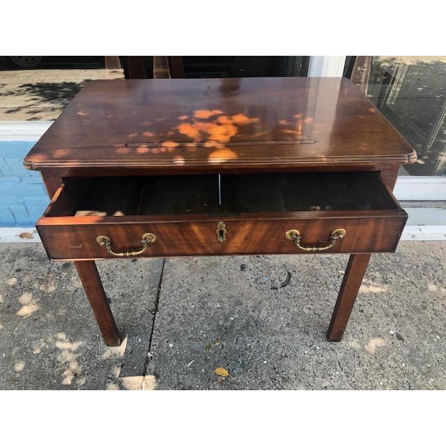 19th Century Georgian Antique English Mahogany Architects Desk Brass Pulls For Sale - Image 4 of 7