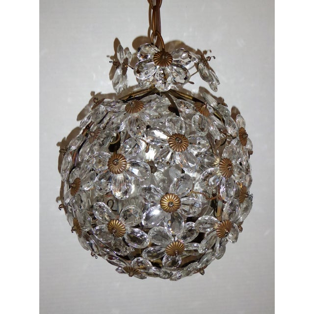 Maison Baguès Floral Crystal Ball Form Chandelier, 1920s For Sale - Image 9 of 12