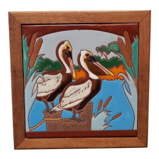 Vintage Pelicans Scene Framed Tile Art For Sale