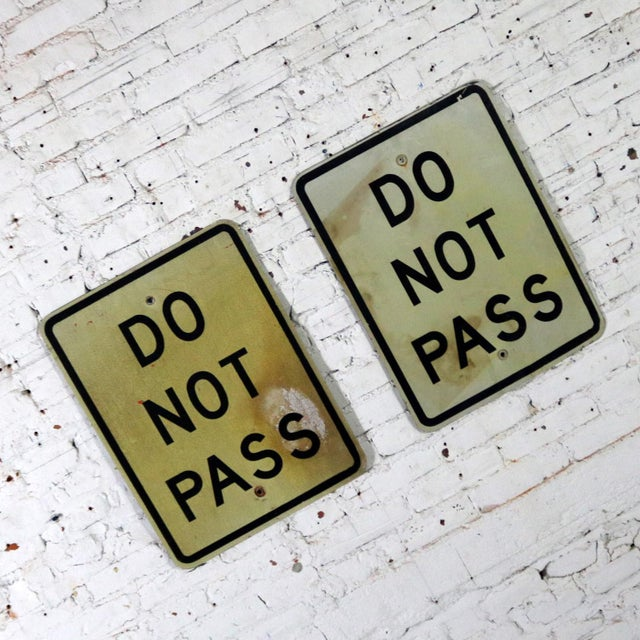 Aluminum Vintage Do Not Pass Metal Traffic Signs For Sale - Image 7 of 13