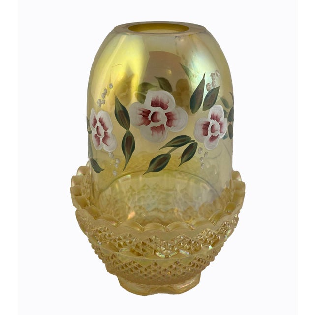 Mid 20th Century Fenton Art Glass Topaz Hand Painted Signed Fairy Light For Sale In Boston - Image 6 of 7
