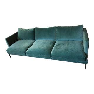 Anthropologie Teal Velvet Sofa